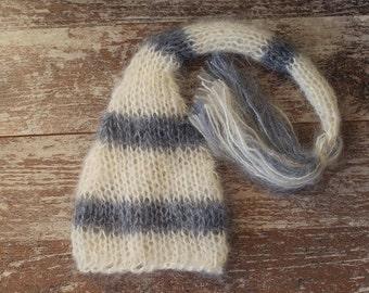 Newborn Elf Hat, Knitted Mohair Baby Girl Boy Hat,Stripe Gray Ivory, Munchkin hat, Knit baby hat, Photo prop, Photography,Beanie
