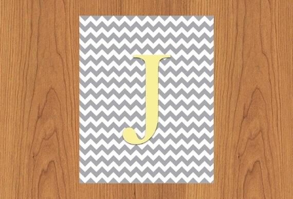 Letter J Wall Art Letter J Wall Art Print Grey Yellow Nursery Decor Chevron Grey