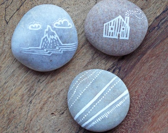 Hand Painted Pebbles - Mountain, House and Earth Stripes - MADE TO ORDER