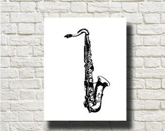 Saxophone Musical Instrument Ornament Decoration Printable Graphics Instant Download  DG13030
