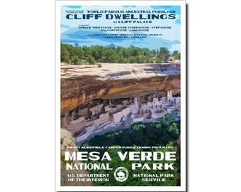 """Mesa Verde National Park Poster, WPA style 13"""" x 19"""" Signed by the artist. FREE SHIPPING!"""