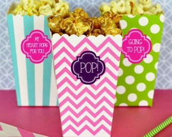 24 Personalized Popcorn Treat Boxes
