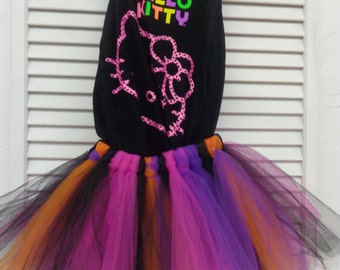 Hello Kitty Tank Top With a Multi Color Tutu Ready to Ship in a girl's size 6