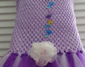 Lavender and Purple Lined Crochet Top Tutu Dress  Ready to ship in size 14 - 16