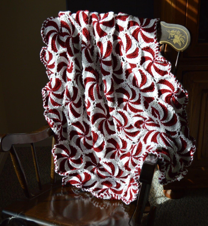 Christmas Crochet Peppermint Afghan