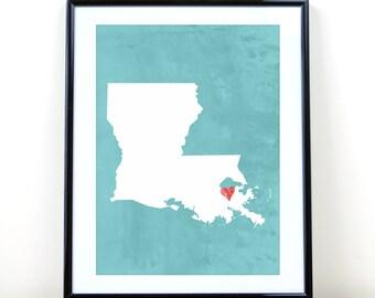 Louisiana New Orleans, printable wall art, digital - state art DIGITAL ART