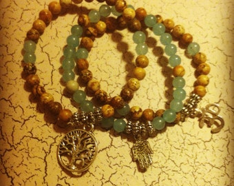 Picture Jasper/Blue Chalcedony Set of 3 Bracelets