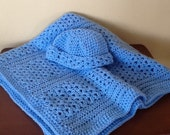 Soft and warm blue baby blanket and cap