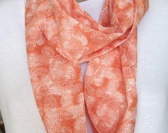 Lightweight Scarf for Summer; Orange Sherbert; Orange New Black; Infinity Scarf; Textured Fabric