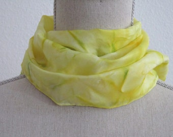 "Handpainted Silk Scarf, Hand Dyed Scarf. Yellow scarf. Medium 8""x52"""