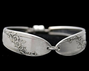 Spoon Bracelet, Queen Bess Silverware Silver Spoon Bracelet Bridesmaid Jewelry Floral Silver Plated Spoon Handle