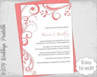 """Coral Wedding invitation template """"Scroll"""" - Printable invitations - YOU EDIT digital Word template/ JPG Instant Download"""