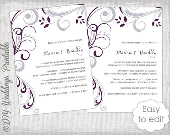 """Wedding invitation template plum and Silver gray """"Scroll"""" invitations Print at home YOU EDIT  invite digital Word /JPG instant download"""