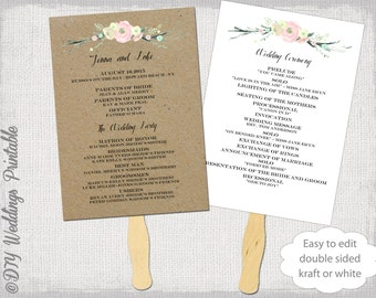"Wedding program fan template ""Rustic Flowers"" DIY kraft or white order of ceremony printable fan programs Editable Word digital download"