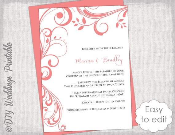 coral wedding invitation template scroll With blank coral wedding invitations