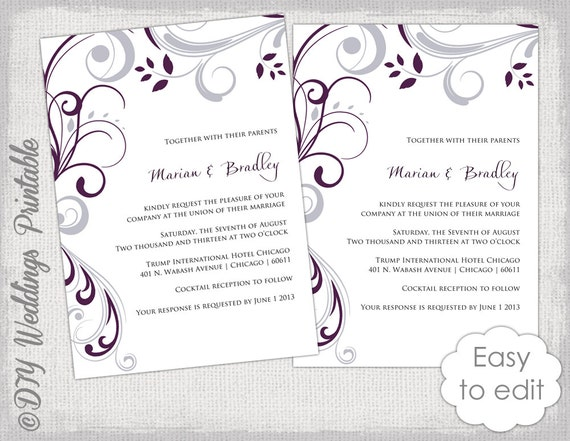 wedding invitation template plum and silver gray, Wedding invitations