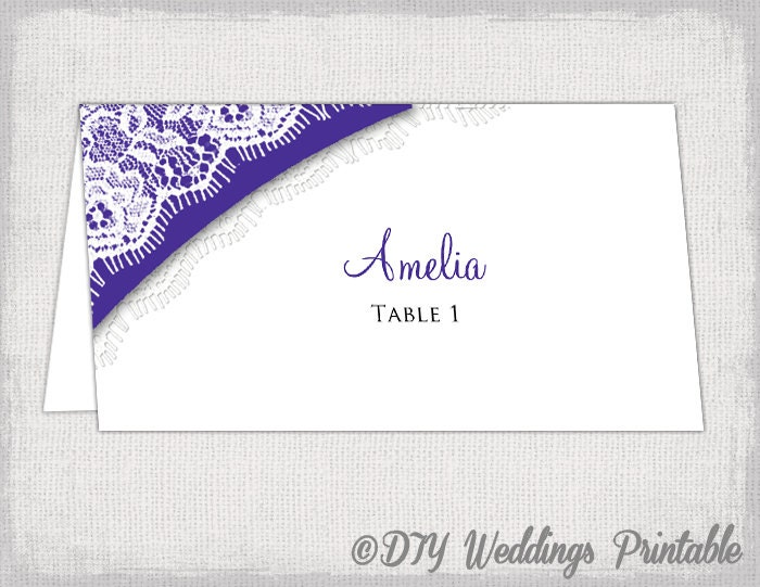 Wedding Place Card Template Lace DIY Printable