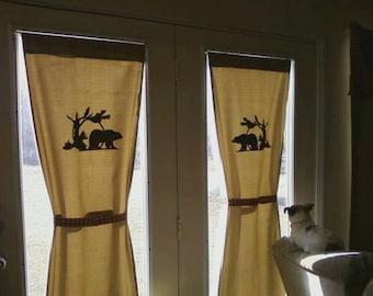 Lodge feel Single Bear Panel w/ tie