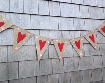 Heart Banner, Valentines Day Decor, Valentines Day Garland, Valentines Bunting, Heart Garland, Photo Prop, Polka Dots, Burlap Hearts