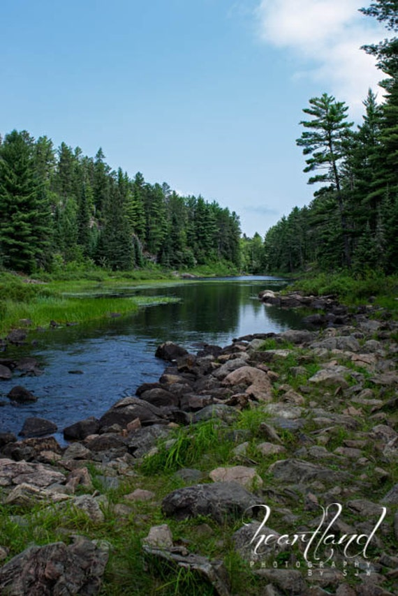 River Landscape, Boundary Waters, Blue and Green, River Bed, Evergreen Trees, Nature Photography, Minnesota Print, Blue Sky, BWCA Art