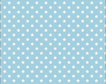 100% Cotton Fat Quarter Makower Polka Stars on Pale Blue