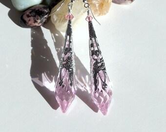 Light pink rosaline Swarovski icicle earrings, victorian earrings