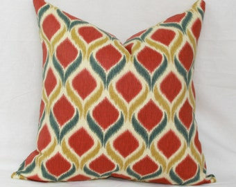 Red & gold ikat decorative throw pillow cover. 18 x 18. 20 x 20. 22 x 22. 24 x 24. 26 x 26. lumbar sizes.