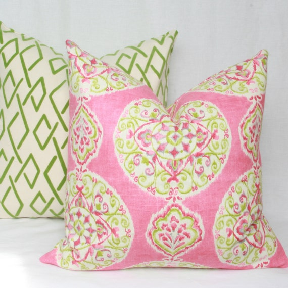 Items similar to Pink & green decorative throw pillow cover. 18