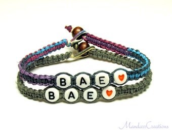 BAE, Before Anyone Else, Purple Haze and Grey Hemp Jewelry for Couples or Best Friends