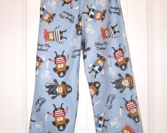 Boys Pajama Pants, Pajama Bottoms, Size 4/5,Handmade,Soft Sleep Wear Flannel,Elastic waist line, PiratePrint,Pirate ship Print,Blue Flannel