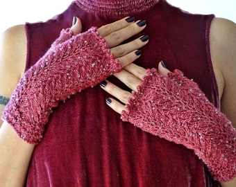 Knitted Lace Fingerless Gloves With Beads