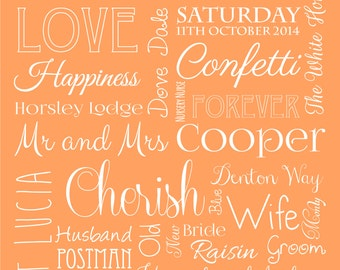Bespoke wedding words wall art print