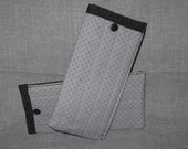 Grey and Black Lined Quilted Eyeglass Sunglass Case snap closure Machine Washable Mens Boys