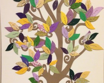 Handmade Gift:  Hand Cut Paper Tree and Leaf Collage Art-Purple-Green-Yellow Tree of Life