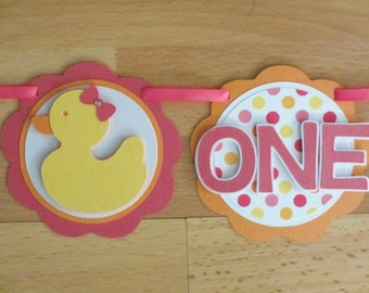 Rubber Duck Ducky I Am 1 Age Highchair Banner Sign Birthday Party Shower Pink Yellow Orange