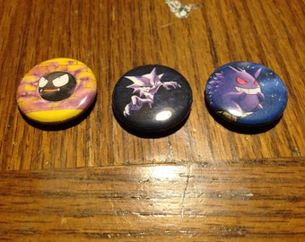 """Gastly Haunter Gengar 1"""" Buttons"""