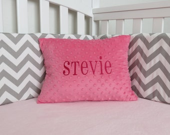 FREE MONOGRAM Minky Pillow Cover - Personalized Minky Pillow Cover - Minky Toddler Travel Pillow, red, pink, blue, gray