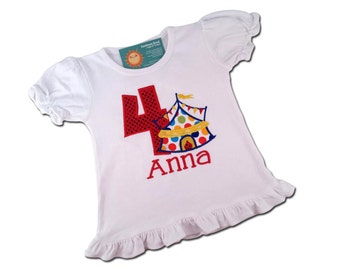 Girl's Circus Birthday Shirt with Primary Color Dots and Embroidered Name