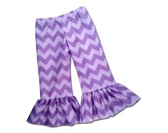 Girls Ruffle Pants in Purple Chevron