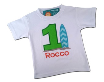 Surfboard Birthday Shirt with Number and Embroidered Name - Green