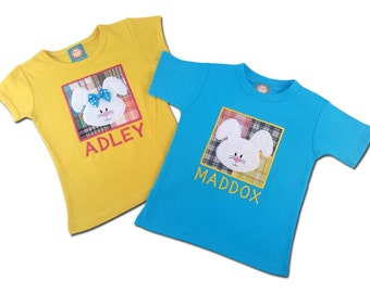 Boy Girl Sibling Easter Shirts - Easter Bunny Box Shirt with Embroidered Name - M26