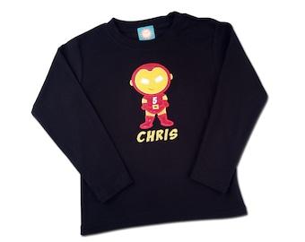 Iron Boy Superhero Birthday Shirt with Embroidered Name