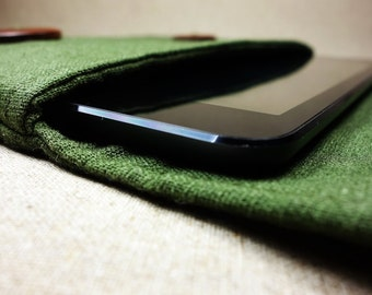 Handmade Natural Olive Green Amazon Kindle sleeve.pouch.case.bag.