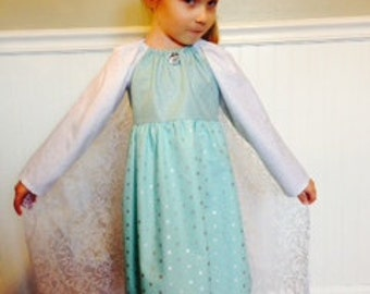 Free shipping** Frozen Elsa inspired ice blue dress with detachable train and 2 snowflake hairclips, girls size 2-8