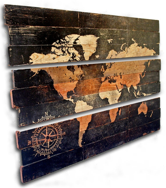Extra large world map and compass 3 piece triptych wall art on for Decoration murale monde