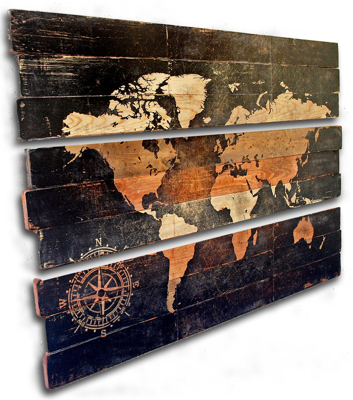 Extra large world map and compass 3 piece triptych wall art on - Panneau decoration murale ...