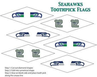 Seahawks printable toothpick flags. Easy Party decorations for Seattle fans. Immediate download for seatown decor and decoration