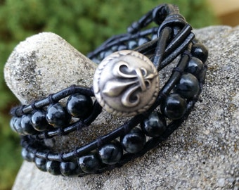 Leather Wrap Bracelet - Black and Gray Leather Wrap Bracelet - Silk Stone Wrap - Fleur de Lis Button Bracelet - Leather Genuine Stone