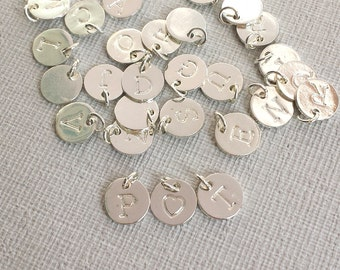 10mm round Letters charm, Plated Silver Tiny Letters, Silver Alphabet Intial Disc, Personalized Initials