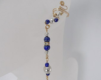 Beautiful Blue Lapis Gold and Silver Drop Ear Cuffs, pair, drop earrings, comfortable, contemporary and glamorous